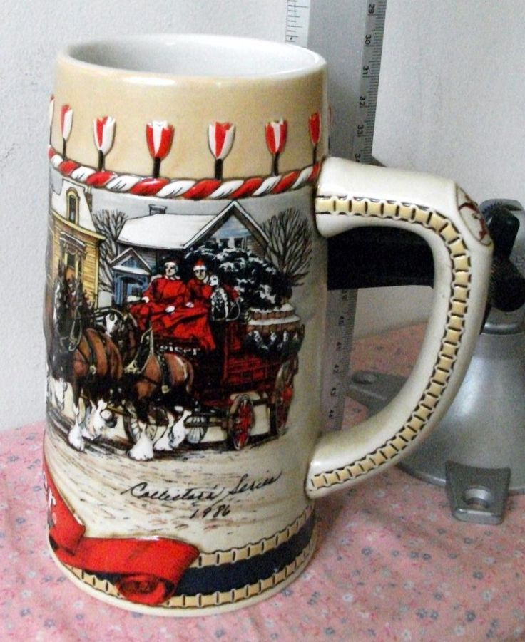 Budweiser Stein Collectors B series 1986 hitch passing through american town