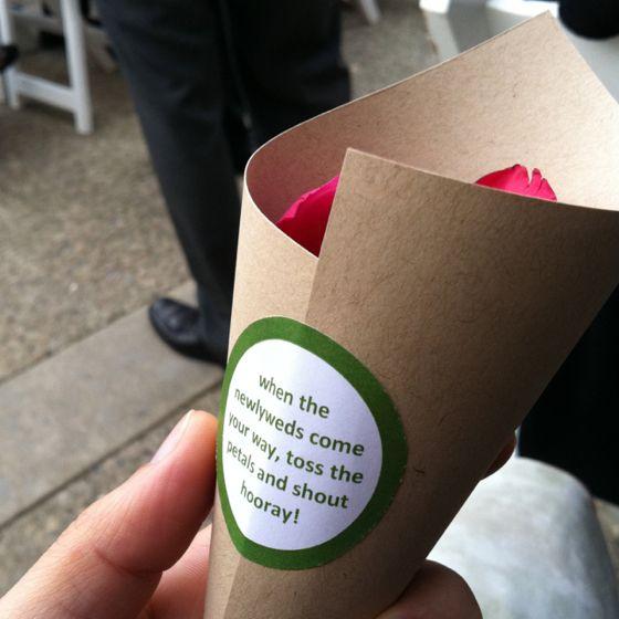 Cute way to give out rose petals at Jim and Jennys wedding.