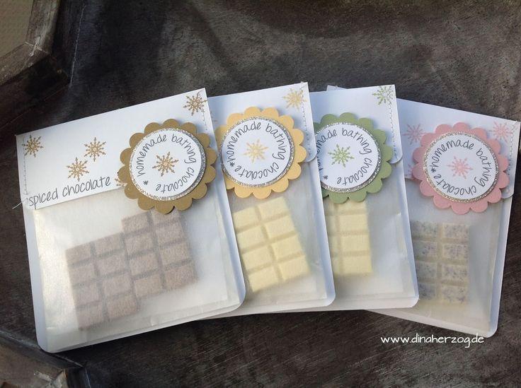 Selbstgemachte Badeschokolade inkl. Rezept!  The perfect Gift! Schönes aus Papier handgemacht!: Meine Swaps