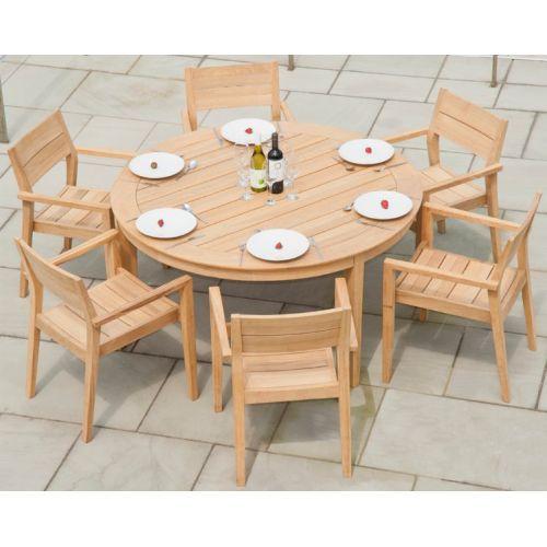 Table de jardin ronde 160 cm en bois massif, 3 pieds, haut de gamme