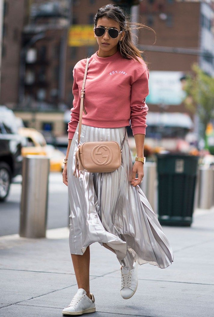 Taking sparkles to the street in the best way. NYFW: The Best Street-Style Moments from the Spring 2017 Shows