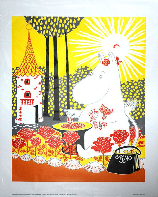 Affisch Mumin bland rosor