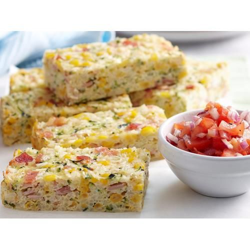Corn, bacon and zucchini rice slice recipe - By Woman's Day, Light, cheesy and packed full of flavour, this tasty corn, bacon and zucchini rice slice is surprisingly filling and delicious enjoyed hot or cold.