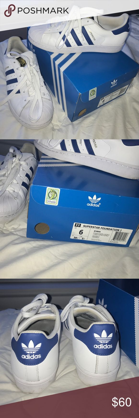Adidas Originals Blue/ White Superstars Size 6 (i'm a 7, 37 Euro and they fit me perfectly, Adidas run a size larger) unisex adidas superstars. Worn once but in perfect condition. Comes with box Adidas Shoes Sneakers
