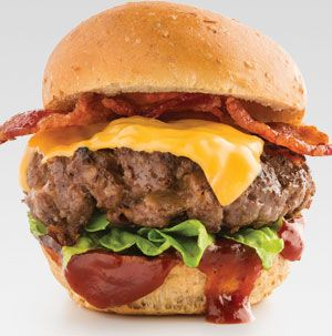 Double up the flavor by using a slider patty seasoned with cheddar and bacon. Use your favorite flavor of Hy-Vee barbecue sauce - we're pretty partial to KC Kiss.