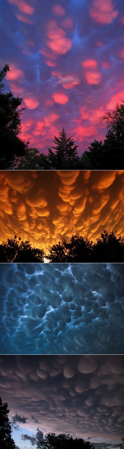 "Mammatus Clouds - ""True to their ominous appearance, mammatus clouds are often harbingers of a coming storm or other extreme weather system. Typically composed primarily of ice, they can extend for hundreds of miles in each direction."""