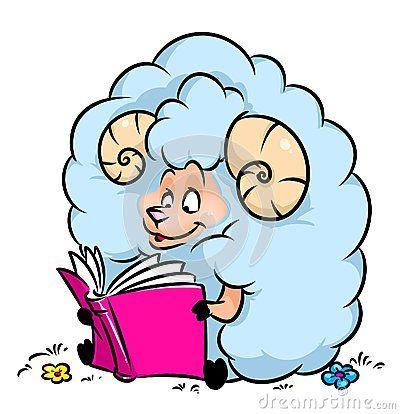 Sheep reading book cartoon illustration    image animal character