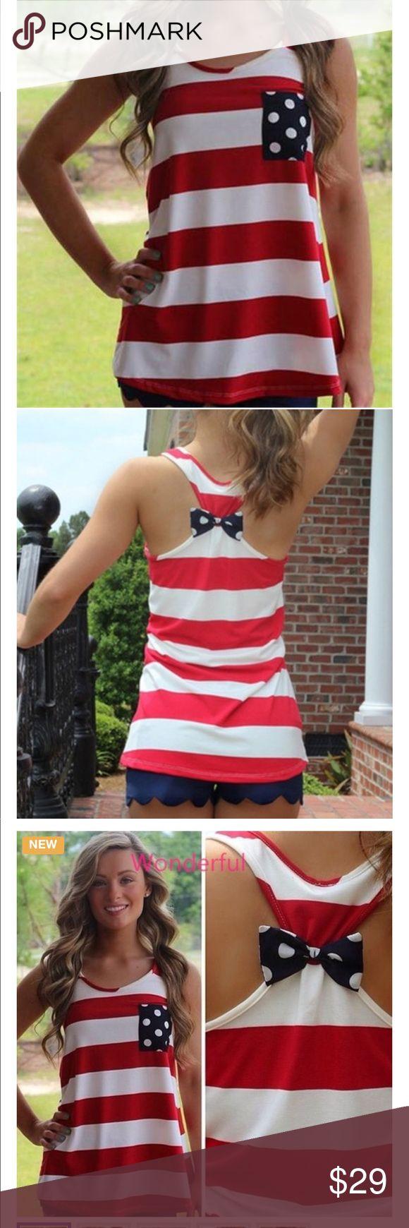 Hot stripes & Polka Dot pocket & bows-cute top Hot Stripes & Polka Dot Pocket & Bows!!!  Cute Cute Cute Top!!! Tops Muscle Tees