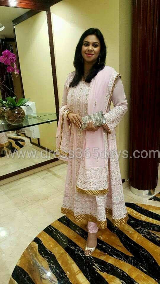 Customer wearing Dress365days Pure Georgette Chikankari suit | Price $199 | WhatsApp +91 8553042444| Buy Online www.dress365days.com