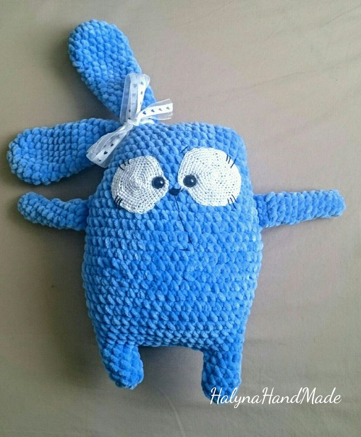 Crochet minky pillow funny bunny