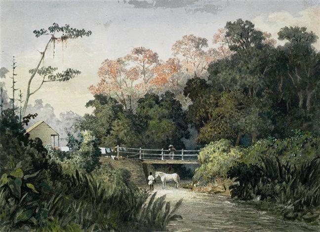Landscape With Figures And Horse By A Bridge Trinidad Michel Jean Cazabon