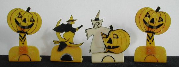 Bakelite Halloween Party Name Card Holders Witch Riding Broom