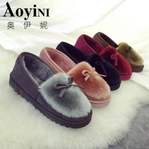 Best Sellers $9.27, Buy New 2016 women snow boots thick plush winter warm shoes fashion slip on flat waterproof women ankle boots cotton-padded shoes