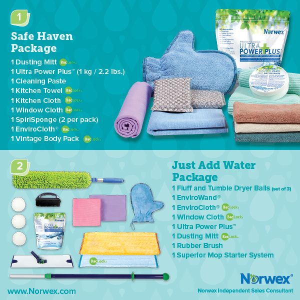 Norwex Dusting Mitt, Ultra Power Plus, Cleaning Paste, Kitchen Towel, Kitchen Cloth, Window Cloth, SpirSponge, EnviroCloth, Vintage Body Pack, Fluff and Tumble Dryer Balls, EnviroWand, Rubber Brush, Superior Mop Starter System. For Facebook parties, online events and marketing.