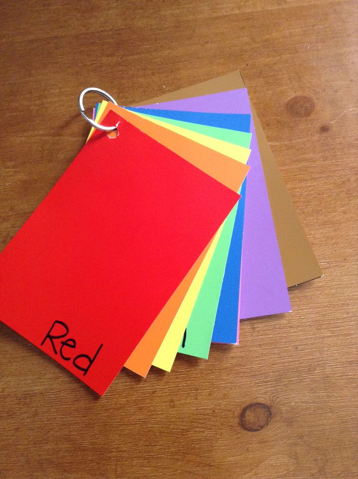 Great learning tool for toddlers! Go to the paint department and use color swatches and make your own color flip book