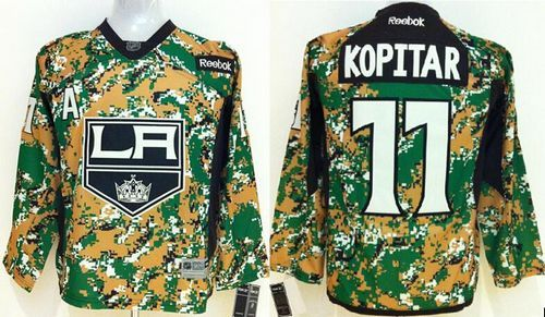 Kings #11 Anze Kopitar Camo Veterans Day Practice Stitched Youth NHL Jersey
