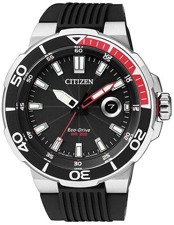 Montre Citizen WR200 Homme - AW1420-04E - Quartz - Analogique - Cadran en Acier inoxydable Argent - Bracelet en Caoutchouc Noir - Date - Etanche 20 bar
