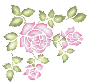 rose stenci | Click on image for a larger view of stencil design