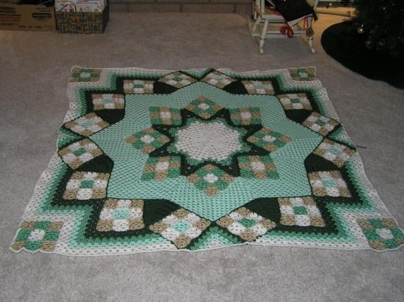 Green Crocheted Star Quilt