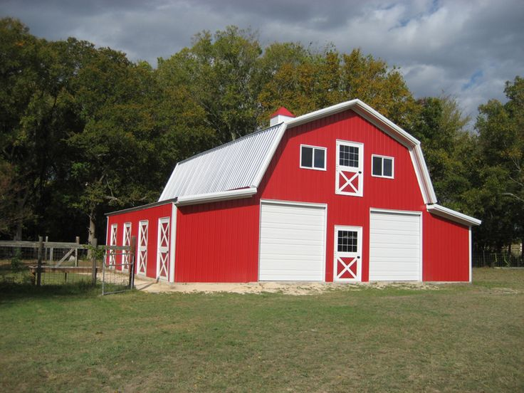 Gambrel pole barn kits woodworking projects plans for Gambrel roof metal building