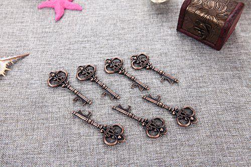 40 Large Copper Crown Skeleton Key Wedding Favor Bottle