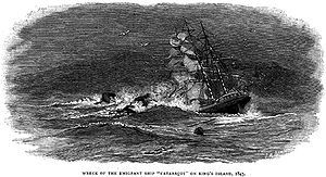 The Cataraqui (also called the Cataraque was a British barque which sank off the south-west coast of King Island in Bass Strait on 4 August 1845. The sinking was Australias worst ever maritime civil disaster incident, claiming the lives of 400 people.