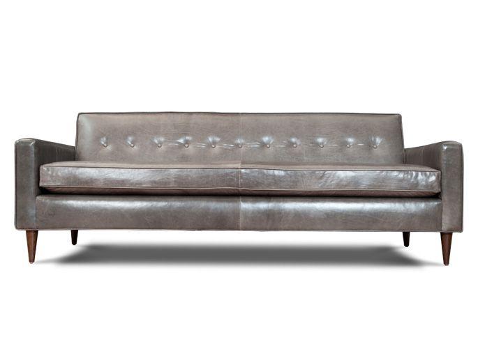 Sofa Mart Grey Leather l Jefferson Leather Sofa l Thrive Furniture l Handmade Midcentury Modern l Made in America