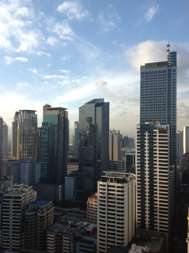 Afternoon sky view at Makati central business district, Manila, the Philippines.