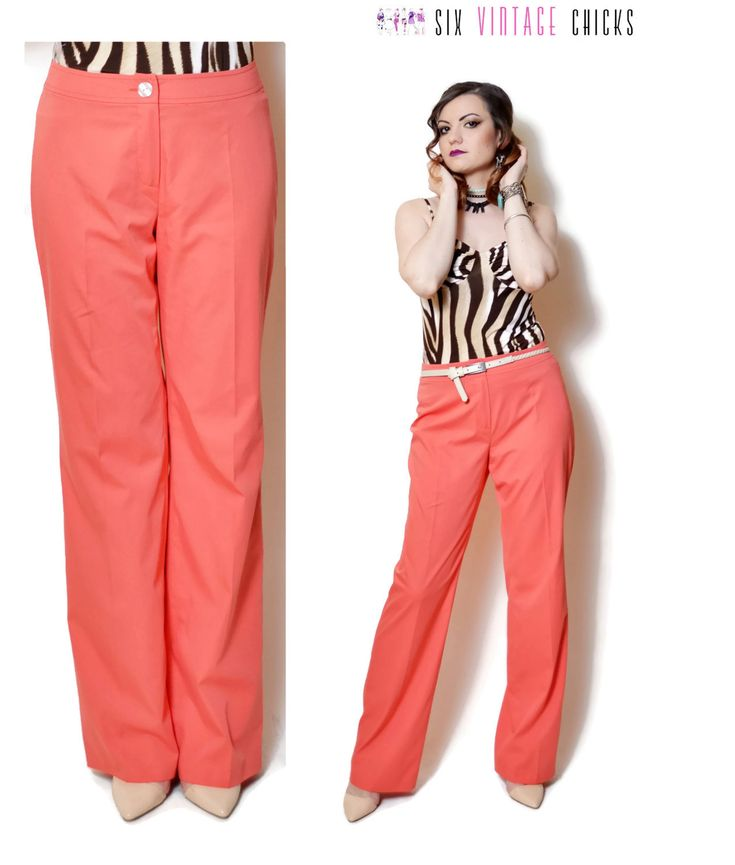 low rise pants women office clothes 90s clothing straight leg orange pants vintage clothing Minimalist pants womens Trousers boho chic L by SixVintageChicks on Etsy