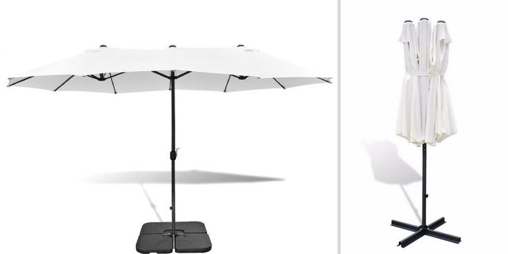 Large Outdoor Umbrella White Garden Hotel Pool Lawn Crank Parasol Sunshade Base