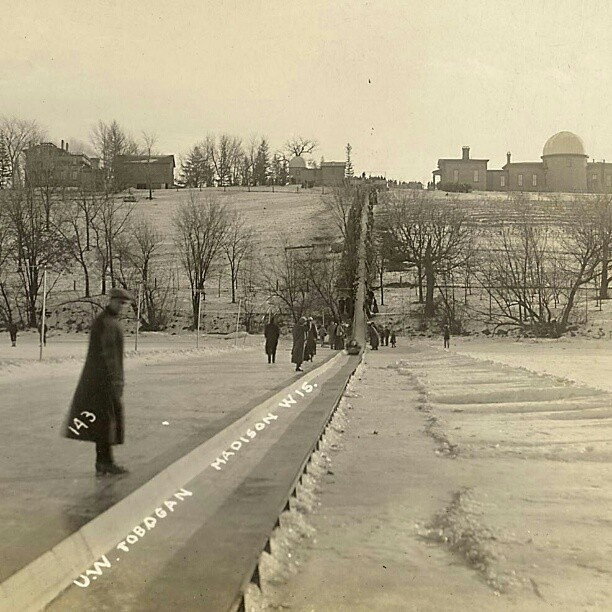 Observatory Hill toboggan run > tray sledding. Thanks to UW Archives for this #oldschool 1911 image #uwmadison #tbt #throwbackthursday #winter #Wisconsin #lake #ice