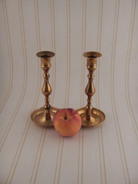 Set of 2 Brass Candlesticks by BrassandMilkglass on Etsy