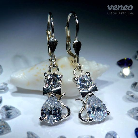 Cat. Silver or Gold Earrings with Zircons all sizes by Veneo, $67.00