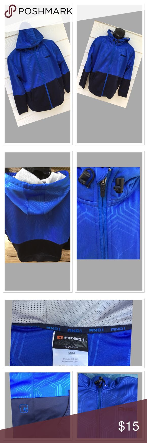 AND 1 Men's zip up Hoodie with, two side pockets. AND 1 Men's two-toned Blue and Black; zip up Hoodie with Logo Design, two side pockets. Lined hood, draw strings, brushed fleece interior and ribbed cuffs! Excellent condition, like new. AND 1 Shirts Sweatshirts & Hoodies