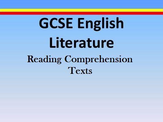 GCSE ENGLISH LITERATURE BOOK SUMMARIES / AQA READING COMPREHENSION
