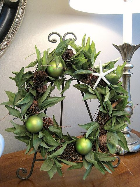 Wreath:  Dressed up for the holidays.  Great way to use a wreath other than on a door.
