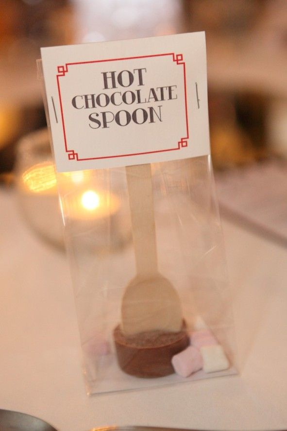 Hot Chocolate Spoons. The perfect DIY favours for winter. Handmade by the bride. #weddingfavor  #favour #hotchocolatespoon