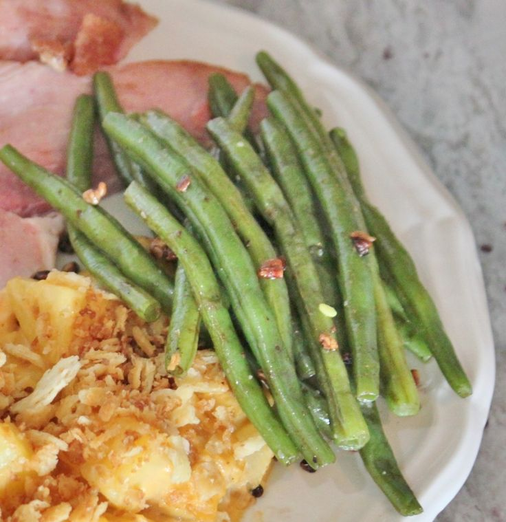 Green Beans with Pecan Butter Topping Easter Dinner Menu - Old Things New