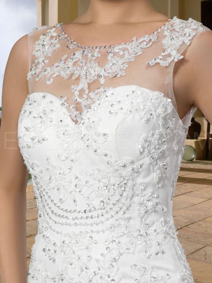 Gorgerous Sleeveless Scoop Appliques Trumpet Court Wedding Dress Wedding Dresses 2014- ericdress.com 10870082