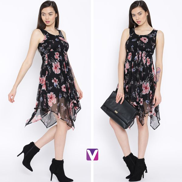 Handkerchief Dress for those Date Nights! Shop this by Product Code: 4038720. #handkerchiefdress #highlowhem #dress #westernwear #floraldress #onlineshopping #voonik