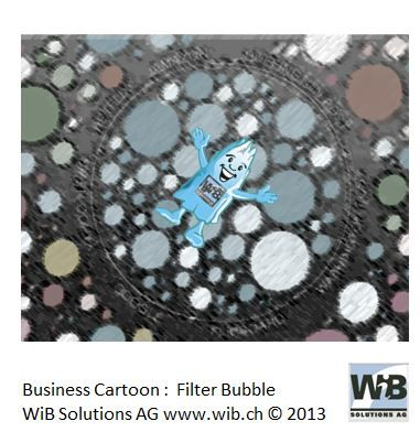 Business Cartoon Filter Bubble by WiBi and WiB Solutions Switzerland. Check for more on management thinking mistakes at www.managementthinkingmistakes.ch