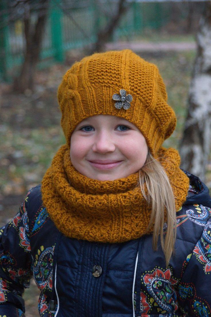 видео шапка и снуд спицами для девочки Пятикнижии