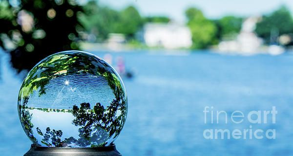 """This image captures the beauty of Fowler Lake through a 3"""" clear crystal ball creating a beautiful scenic fish eye interpretation. Unauthorized use and/or duplication of this material without express and written permission from this author and/or owner is strictly prohibited. Crystal Ball Photography, Oconomowoc, WI"""