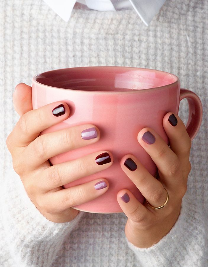 It's just another ManiMonday. And our nails are being treated to two shades of purple. Autumn nail style is all about dark, bold colours in 2015.