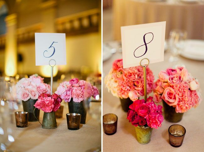A chic pink ombre wedding katie justin ombre for Fall centerpieces for round tables