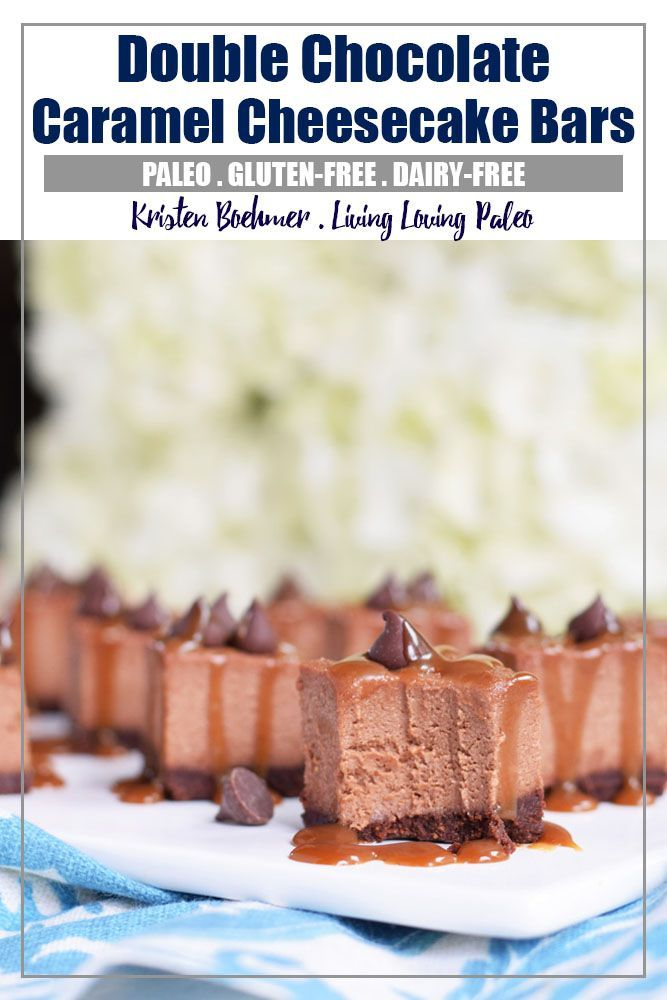 Dairy Free Double Chocolate Caramel Cheesecake Bars Recipe