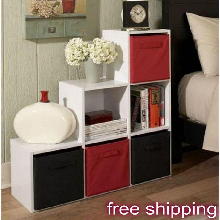6 Cube Step Storage Unit Shelf White Bookcase Home Office Wooden Organizer…