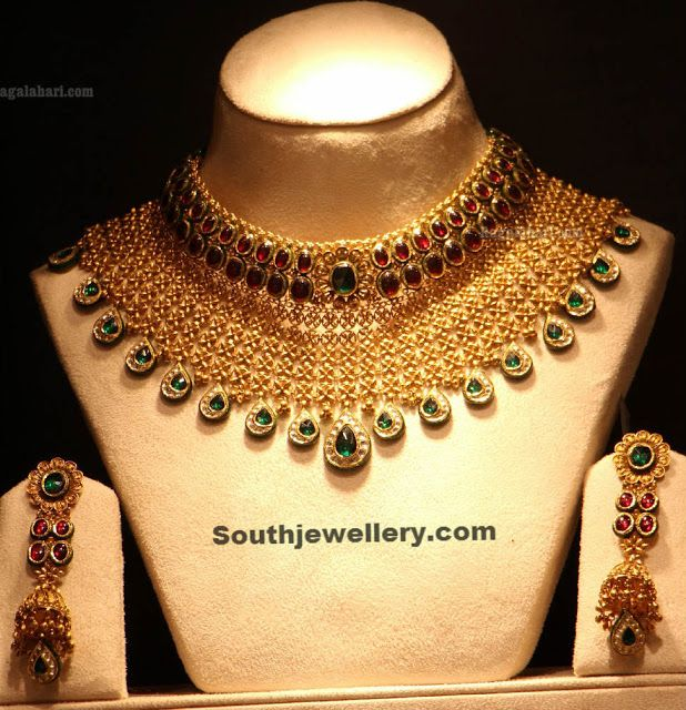 Heavy Bridal Necklace with Rubies and Emeralds ~ Latest Jewellery Designs