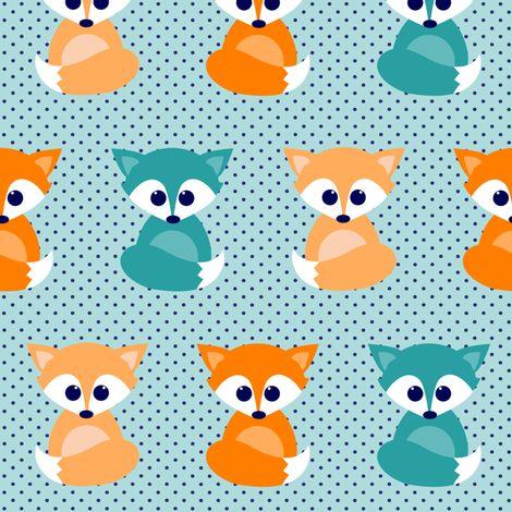 Baby foxes - turqoise, navy, orange fabric by heleenvanbuul on Spoonflower - custom fabric
