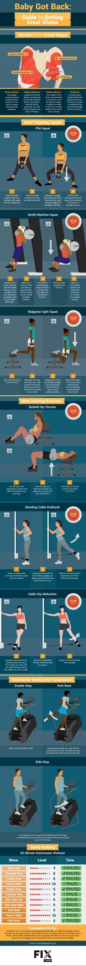 Try our glute workout for a toned butt! This full routine includes squats, strength training, and a cardio Stairmaster workout!